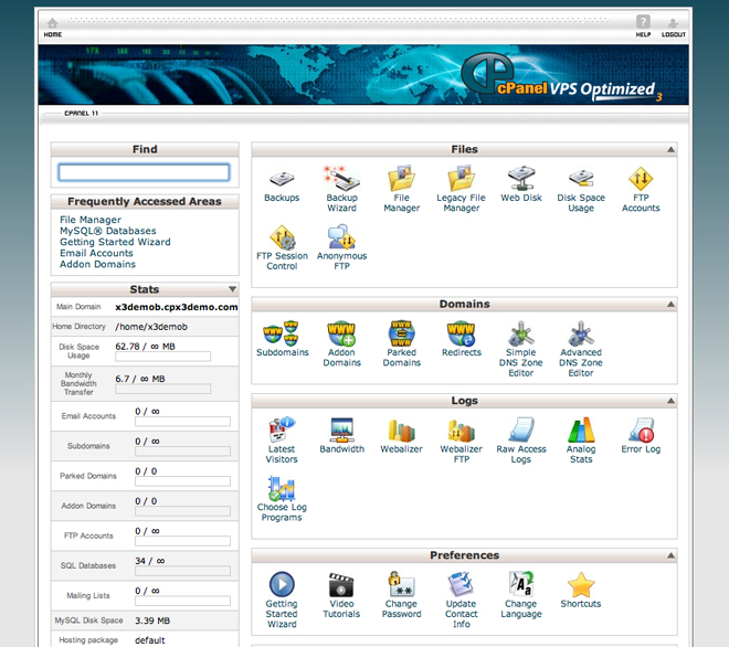 cPanel Screenshot An Overview of Features in the cPanel Control Panel