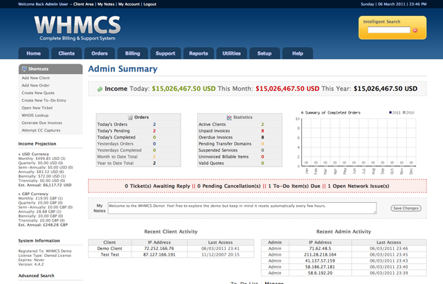 WHMCS Billing System Screenshot Enhance your WHMCS Billing System with Live Chat