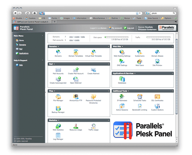 plesk control panel1 Plesk Control Panel – All the Web Hosting Tools In One Place