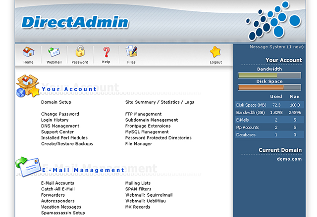 da main screenshot Can Small Hosting Companies Benefit from Using DirectAdmin?