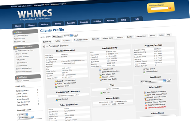 whmcs license client profile WHMCS – Easily Manage All of your cPanel Clients